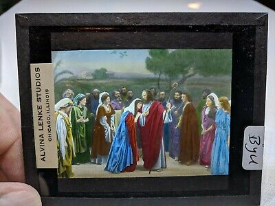 COLORED Glass Magic Lantern Slide BYU Cast on THE STAGE PASSION PLAY CHRIST #54