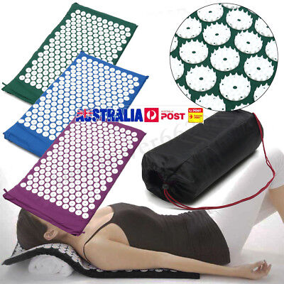 Massage Acupressure Yoga Mat Sit Lying Mats Cut Pain Stress Soreness + Free Bag