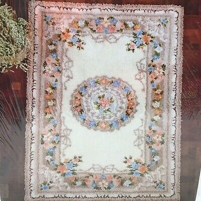 Bernat Tabrette Blossom Treasure Latch Hook Rug 36 x56 Vtg 1982 T3961 NEW SEALED