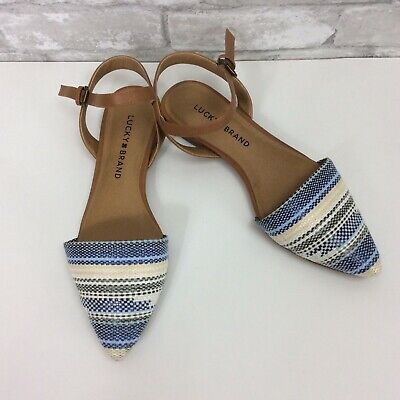 19cb40b13d288 Lucky Brand Shoes 7M Blue Makasy D'Orsay Boho Pointed Toe Ankle Strap Flats