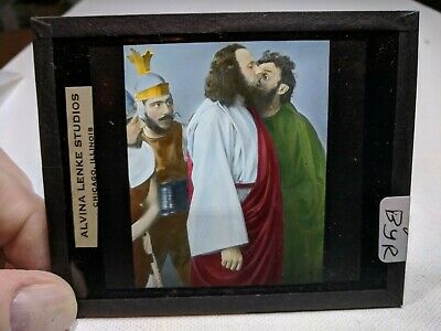 COLORED Glass Magic Lantern Slide BYR Cast on THE STAGE PASSION PLAY CHRIST #52