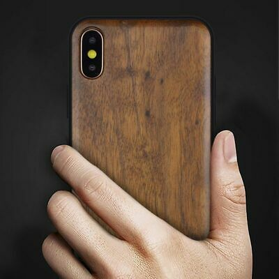 For Samsung Galaxy S10 S9 E S8 Plus Thin Natural Wooden Wood Bamboo Case Cover