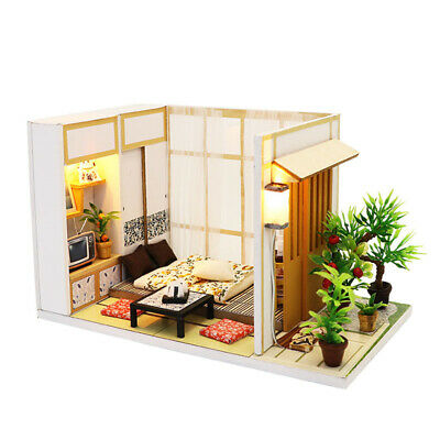 DIY Miniature Japanese Tatami Dollhouse Wooden Furniture LED Kit Birthday Gift