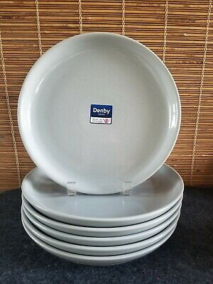 Denby Intro Soft Grey (6) Coupe Dinner Plates England