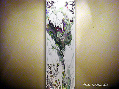 Abstract Acrylic Pour Painting, Fluid Painting, Modern Vertical Wall Art by Nata