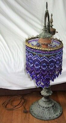 "Estate Vintage Electrified Purple Beaded Metal Heavy Unique Ornate 28"" Lamp AND"