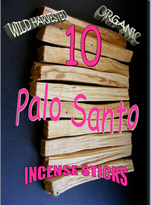 PALO SANTO HOLY WOOD ORGANIC CLEARING INCENSE/SMUDGE STICKS X 10 wild harvested