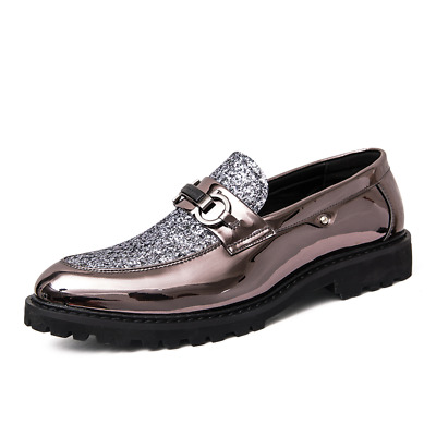 Men's Microfiber Patent Leather Casual Smart Formal Dress Wedding Shoes Gold 11