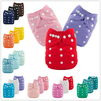 3PCS Solid Color Baby Cloth Diapers Reusable Washable Boy Girl Pocket Nappies