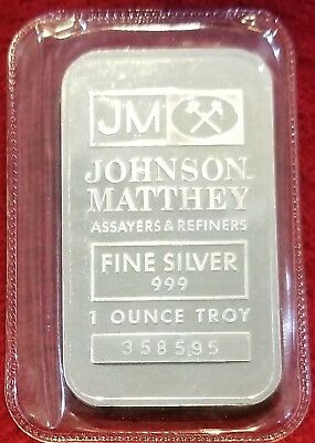 Johnson Matthey 1 OZ 999 Silver art Bar (FACTORY JM SEALED - OLD ISSUE S/N)