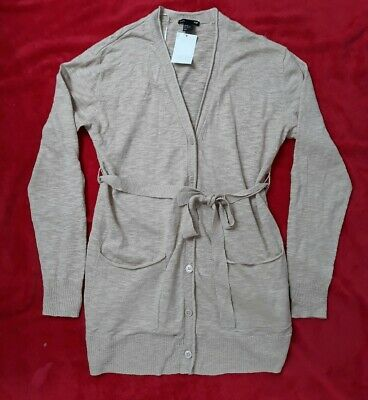New /Tags H&M Mama /Maternity Belted Long Linen Knit Cardigan -Beige Ladies10-12