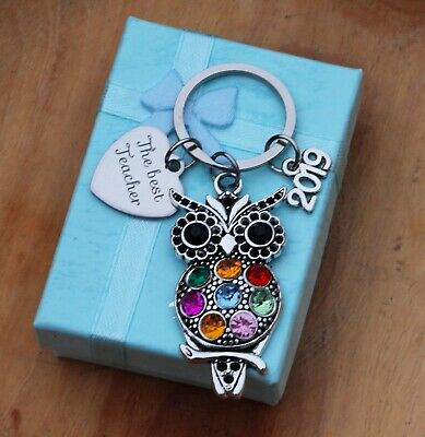 THANK YOU Teacher Teaching assistant,Nursery teacher gift -OWL Keyring  ( 004)