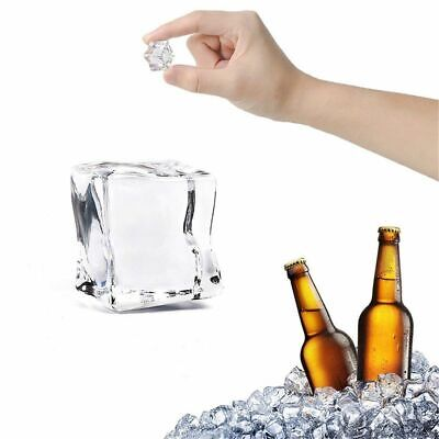 10 PCS Acrylic Ice Cubes Square Shape Glass Luster Fake Artificial Crystal Clear