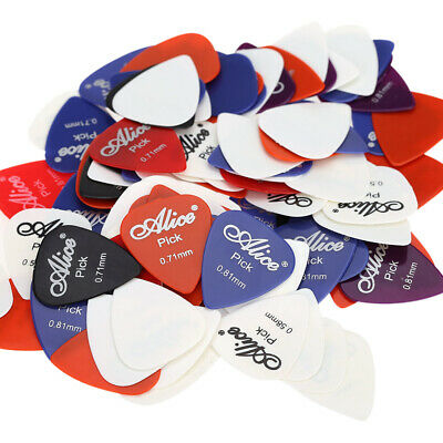 100PCS Alice Acoustic Guitar Bass Picks Colorful Mixthickness Plectrums Lot H3B2