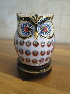 """Five Chinese Cloisonne Enamelled Owls 3cm//1.2/"""" Tall used excellent condition."""