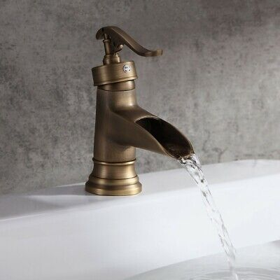 Antique Brass Waterfall Bathroom Sink Faucet One Lever Pump Style Basin Filler
