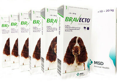 CHEWABLE TABLETS BRAVECTO 500 mg. MEDIUM DOG 10-20 Kg. GREEN PACK EXP2020