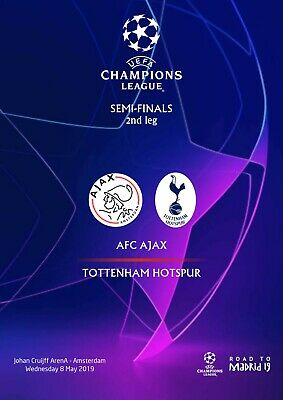 Programme Pirate Ajax Amsterdam Tottenham Cl Uefa Champions League 2018 2019