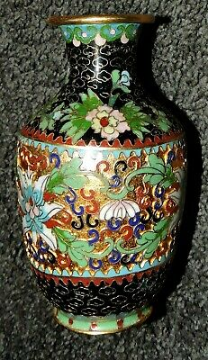 "Oriental Cloisonne Vase Vintage Green Gold Black Traditional Urn Shape 5"" Beauty"