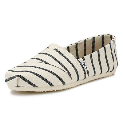 TOMS Womens White / Navy Riviera Stripe Classic Espadrilles Casual Summer Shoes