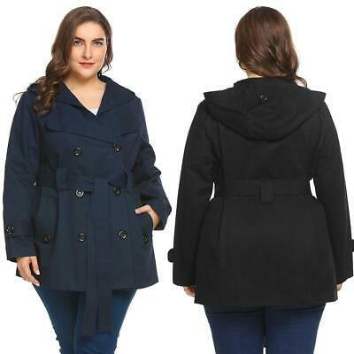 Women Hooded Double Breasted Solid Casual Trench Coat with Belt Plus Size B0N 04