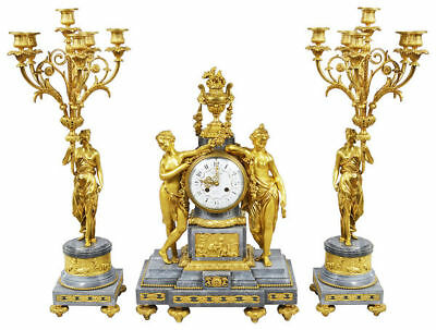 French Louis XVI style Gilded clock set, 19th Century.c. 1880 France