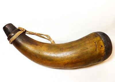 Early 19Th C American Antique Carved Black Powder Horn, W/Nailed Heel/Hemp Cord