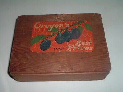 Antique Advertising Wood Oregon Prune Pine Box Tongue and Grove, hinged