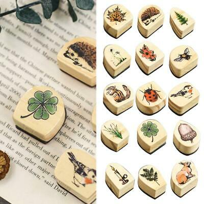 DIY Sweet 24 Pattern Wooden Rubber Stamp Stamper Foggy Forest Seal Craft Diary