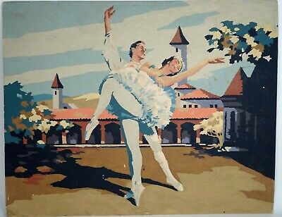 Vintage HTF 1950s PAINT BY NUMBER, Swan Lake Ballet #2 - 20 x 16, Finished