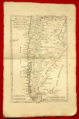 Old Map Year 1780 By Rigobert Bonne - Chile Peru Cap Horn Patagonia