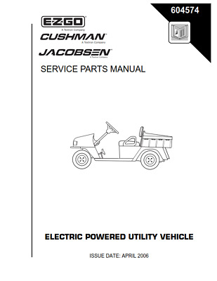 EZGO E Z G O SERVICE Parts Manual Year 2000 Electric Golf