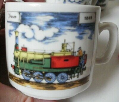 Mid-Century Demitasse (5) Cups ONLY by Cipa Porcellana Italy / France/Locomotive