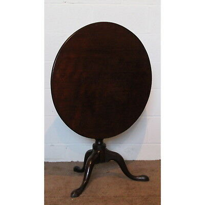 Georgian Mahogany Circular Tilt Top Tripod Wine Window Table One Piece Top C1770