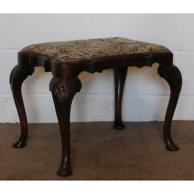 A Quality Georgian Style Irish Walnut Shaped Footstool Shell Mouldings
