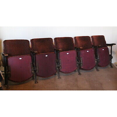 A Row of 5 Vintage Art Deco Circa 1930s Cinema Theatre Seats or Chairs