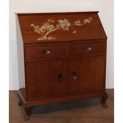 An Oriental Chinese Hardwood Bureau with Mother of Pearl Inlay & Fitted Interior