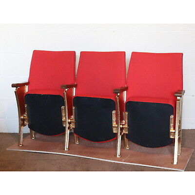Row of 3 Vintage Art Deco Circa 1930s Cinema Theatre Seat Chairs with Aisle Ends