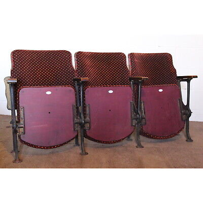 A Row of 3 Vintage Art Deco Circa 1930s Cinema Theatre Seats or Chairs