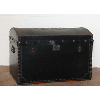 A C19th Leather Canvas & Studwork Dome Topped Travel Trunk Marriage Chest