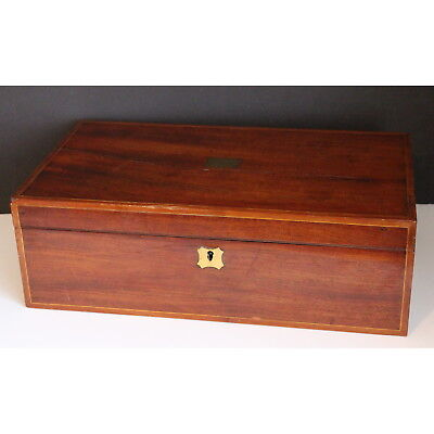 A Mid C19th Inlaid Walnut Fitted Writing Slope with Lockable Drawer
