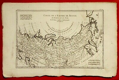 Old Map Year 1780 By Rigobert Bonne - Russia In Europa And In Asia