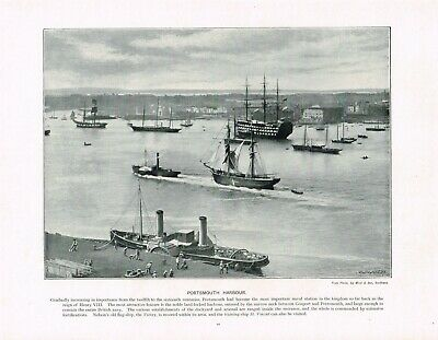 Portsmouth Harbour Dockyard Hampshire Antique Old Picture Print c1896 PEAW#44