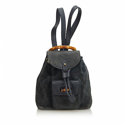 7134a9f0536 AUTH. GUCCI BAMBOO Drawstring Black Nylon Patent Leather Bucket Bag ...