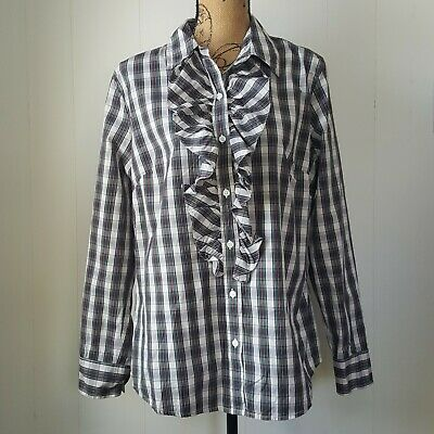 8d8ce998 GAP BUTTON DOWN Shirt Womens XL Red Green Plaid Ruffle Top - $16.00 ...
