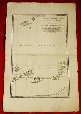 Old Map Year 1780 By Rigobert Bonne - Canary Islands Madere Porto Santo Tenerife