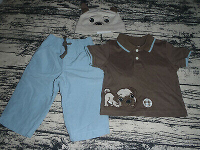 Gymboree Puppy Playtime 6-12 Month Baby Boys Pants Polo Top Hat Outfit NWT