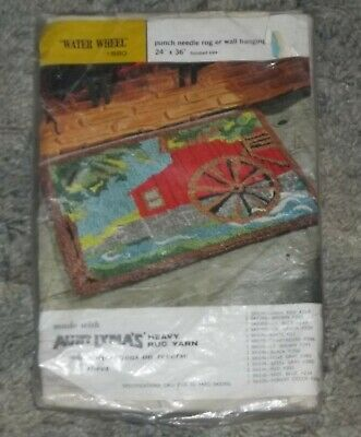 Aunt Lydia's WATER WHEEL Punch Needle Rug/Wall Hanging ~ Canvas Only ~ NIP