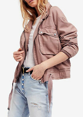 2a66d96b1 FREE PEOPLE FLIGHT Line Bomber Jacket Embroidered Black Zip Front X ...