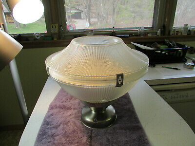 """Vintage Industrial Holophane Light Fixture 14"""" w/ Double Glass Shade - Nice"""